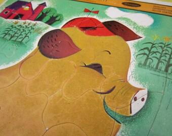 Vintage 1964 Fuzzy Wuzzy Pig Whitman Frame Tray Puzzle Nursery Decor