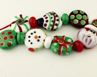 SRA Handmade Lampwork Glass Beads, Christmas Beads Lentil Set 'Holiday Fun'
