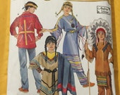 "Childs Native American Clothing Costume sewing pattern Simplicity 5448 size 3- 8 chest 22"" to 27"" dress leggings breech cloth pants FRINGES"