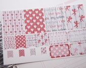 16 Planner Stickers Full Box Half Box Flags Valentine Planner Stickers PS368