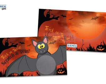 Halloween Bat Scratch Off Game Cards - Trick or Treat Scratch & Win Game