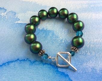 FREE SHIPPING Large Green Blue Swarovski Pearl Sterling Silver Bracelet