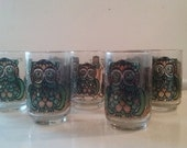 Super Cute Seventies Owl Glasses in Green and Blue by Libbey