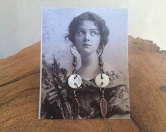 Vintage Button Drop Earrings copper