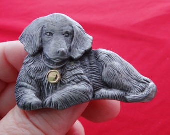 """Vintage silver tone or pewter  2""""  dog  brooch in great condition"""
