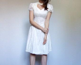 Ivory Lace Dress 90s Puff Short Sleeve Cutout Summer Dress Simple Wedding Dress - XXS