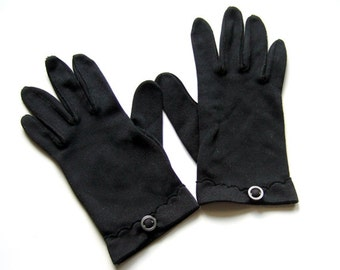Vintage Black Gloves 60s 1960s Formal Chic Short Ladies Gloves