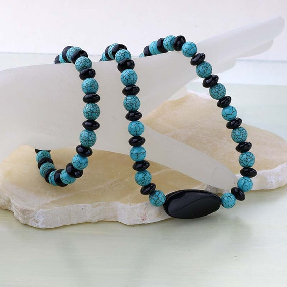 Turquoise and Black Statement Necklace and Bracelet Set, Turquoise Howlite, Black Onyx Gemstone, Jewelry Set, Gift for Mom, Cruise Wear