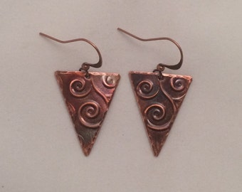 Handcrafted Heated Copper Embossed Earrings