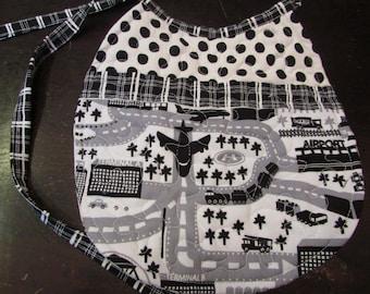 Bib, bibs, baby bibs, boy bib, black and white fabric, quilted bib, tie bib, airport bib, girl bib, toddler bib, reversible bib