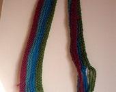 SALE 80s knit scarf purple green hippie eighties boho muffler