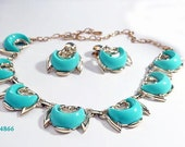 FREE SHIP Turquoise Half Moon Necklace and Earrings Set (4-4866)