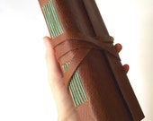 Long Leather Journal in Brown & Mint -Ledger- Leather Sketchbook Personalized Leatherbound Travel Notebook Gifts Under 50 Gifts for Him Her