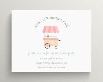 ice cream cart birthday invitation set // baby shower invitation // ice cream party // ice cream cone // thank you note // sundae // picnic
