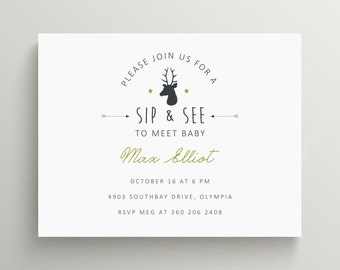 rustic deer sip and see invitation // baby announcement // baby shower // modern invite // woodland // antlers // note card // meet baby