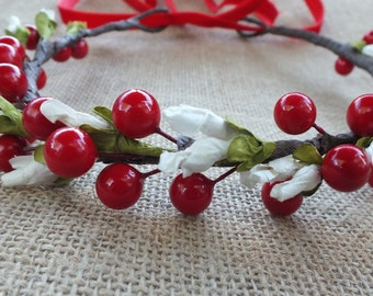 Christmas Hair Accessories, Red Berry Halo, M2M well dressed wolf Joy, Christmas headband, Christmas Wreath, Red Berry Tie Back