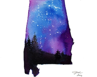 Alabama, print from original watercolor painting from Painting the 50 States Project by Jessica Durrant