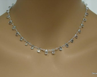 Aquamarine Teardrop Briolette Necklace in Sterling Silver