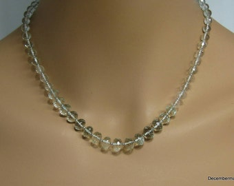 Green Amethyst Necklace in Sterling Silver