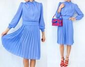 Vintage 80's Lavender Purple Turtleneck Dress / Semi Sheer Pleated Skirt Dress / Matching Waist Belt / Puff Sleeves / Preppy Dress