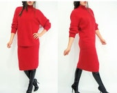50% OFF SALE... 80's Vintage MATCHING Set Bright Lipstick Red Fuzzy Angora Pencil Skirt + Ribbed Raglan Turtleneck Sweater
