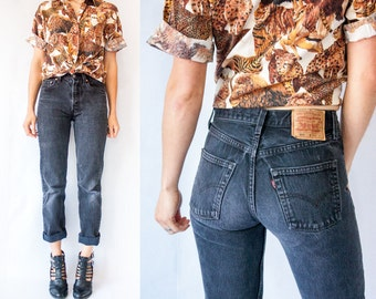 Vintage Faded Black Wash 501 LEVIS Jeans High Waisted Jeans Denim Pants / High Rise Jeans / Skinny Jeans / 31x32 31 x 32
