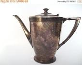 50% OFF Sale Heavily Tarnished Antique Art Deco Oneida Skyline Silver Plate Tea Coffe Pot 1930s 1940s