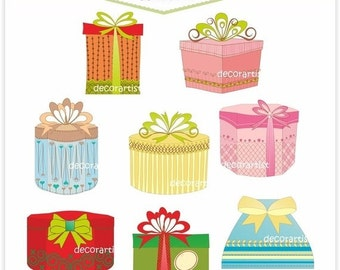 ON SALE giftbox clip art , Digital clip art for all use, 8 gift boxes, Instant download clip art