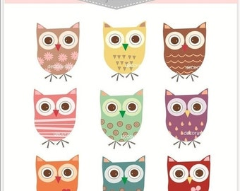 ON SALE INSTANT Download supplies, scrapbooking, paper ,  Digital clip art for all use, 9 super owls, owls clip art , Personal and Commercia