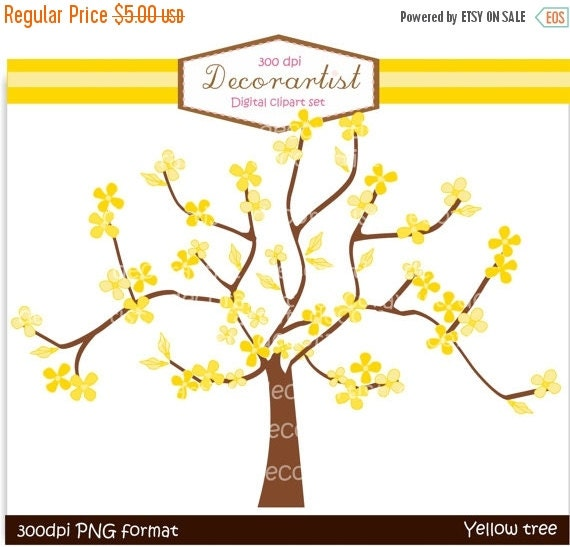 ON SALE Tree clip art yellow tree and butterflies clip art