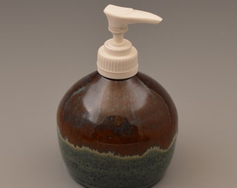 Denim Blue and Rusty Brown Ceramic Soap or Lotion Dispenser - #4