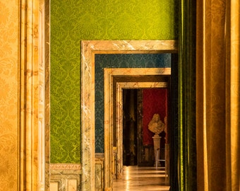 Paris Door Photo Versailles France Print Paris Decor Green Yellow Red Photograph Wall Art Home Decor par137
