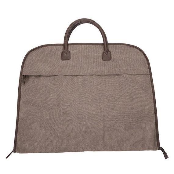 monogrammed brown brushed canvas garment bag great