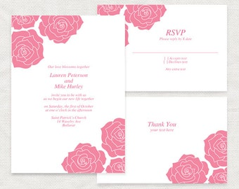 pink rose invitation suite - printable diy template, wedding invitation set bridal shower baby shower girl birthday floral paper rose design