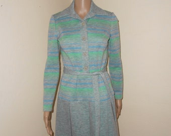 Grey/Green Striped L/S Knit 60's Dress - Size M
