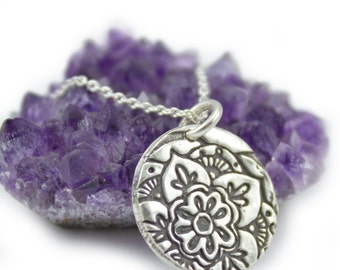 Silver Mehndi Lotus flower Necklace moroccan flower petal lotus mandalla pendant yoga jewelry
