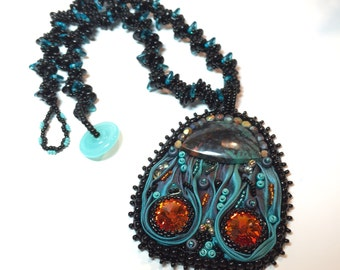 Shibori embroidered scarab pendant on spiral beaded rope