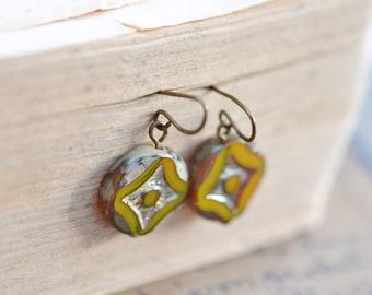 Olivine Antique Earrings / Czech Glass Beads / Brass / Neo Vintage Jewelry