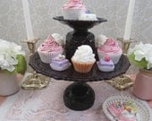 3 Piece Set: Pedestal Cake Stand & 2 Matching Pillar Candle Holders Handmade from Vintage Ruby Red Pressed Glass