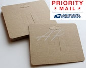 Free Shipping via Priority Mail 600pcs Blank Hair Clip Display Card in Brown Kraft Paper Card DIY Accessory(with hanging hole on top)
