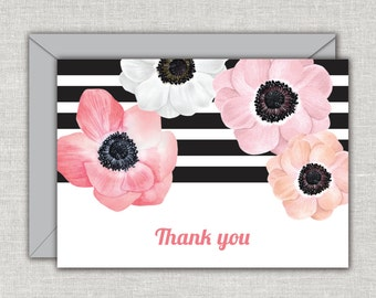Anemone Note Cards, Paris Note Cards, Folded Note Cards, Floral Note Cards, Blank Note Cards, French Note cards, Note Card Set