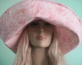 Wide Brim Sunhat Pink White Floral Print Summer Hat Beach Hat