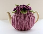 The Heritage Rose - floral tea cosy in pure merino wool - Size MEDIUM - fits 4-6 cup teapots - Ready to Ship
