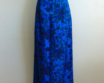 60s THAI SILK maxi skirt in cobalt blue size medium