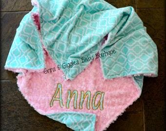 Baby Girl Blanket,Trellis Minky,Opal,Mint,Baby Pink Minky,Personalized,Minky Blanket,Toddler,Crib Blanket,Stroller Blanket,Baby Blanket