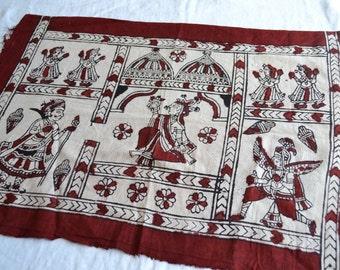 Vintage Fabric - Hand Blocked India Persia Scene Cotton - 25 x 17