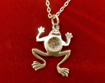 Vintage Pewter leaping Frog Compass pendant
