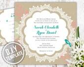 DIY Custom Wedding Invitation with Response Card - Vintage Lace Doily Design Customized Printable PDF