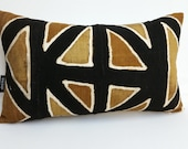RTS African mudcloth bogolanfini accent pillows, 20 x 12 inches, black ivory brown mustard mud cloth 518