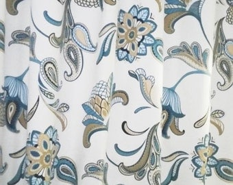 "RTS Two 50"" X 90L designer curtain panels, drapes Covington Savannah Paisley Mariner Blue"